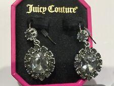 Juicy Couture New & Gen. Silver Plated Gemstone Drop Earrings (Pierced) In Box