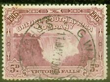 B.S.A.C Rhodesia 1905 5d Claret SG96ba Bird in Tree P.14 Fine Used