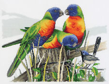 Country Threads Cross Stitch Kit Lots of Lorikeets Australian Parrots Birds N...