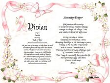 Name Meaning and Serenity Prayer Short Version Inspirational Frameable Art Print