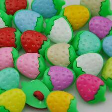 100 pcs Strawberry Plastic Button backhole craft/sewing cute buttons PT65