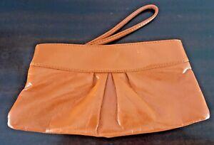Ebisu Orange Vegan Patent Leather Wristlet