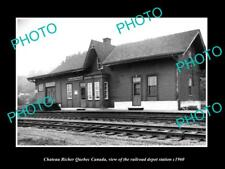 OLD LARGE HISTORIC PHOTO OF CHATEAU RICHER QUEBEC CANADA RAILROAD DEPOT c1960