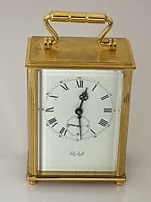 """New listing Carriage Clock """"IMhof"""" 15 Js Swiss Move, G/P Bevelled Glass, Serviced, Working"""