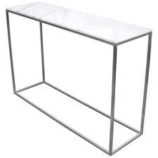 White Carrara Marble Metal Console Table Minimalist Mid-Century Modern MCM