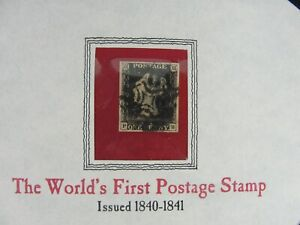 """The World's First Postage Stamp """"THE BLACK PENNY"""" Issued 1840-1841 One Cent"""