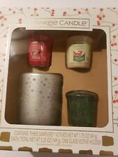 YANKEE CANDLE 3 CHRISTMAS SCENTED CANDLES SAMPLERS WITH GLASS VOTIVE HOLDER NEW