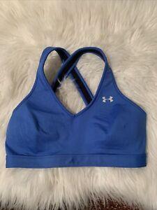 under armour medium sports bra lightly lined royal blue cris cross back
