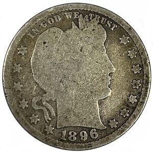 1896 United States Silver Barber Quarter - G