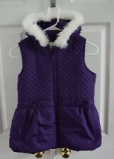 Gymboree Purple Fur Trimmed Quilted Bow Zip Puffer Vest Girls size 10-12 Large