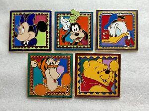 Disney VHTF RARE - Framed Stamp 5 PIN SET - Tigger Minnie Pooh Donald Goofy