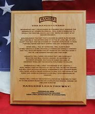 Personalized US ARMY RANGER CREED Plaque, military gift, custom RLTW graduation