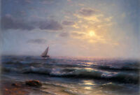 Oil painting stunning seascape little sail boat on ocean with waves in sunset