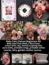 Baby Fairy Deluxe Doll Making Kit - Mold-Dvd-Clay-Tools-Hair- Wings-Course-Garden