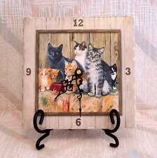 """Cat Clock With Easel """" Barn Cats"""" Pattern Tumbled Stone"""