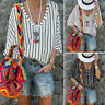 UK Womens Striped V Neck Baggy Blouse Ladies Casual Loose Tunic Tops Plus Size
