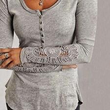 donna di cotone a manica lunga camicia pizzo maglia larga casual T-shirt GENTILE
