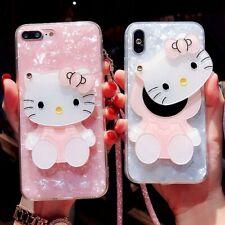 3D adorable Hello Kitty Espejo Correa De Cáscara Bling caso cubierta para 9 8 S9+ Samsung Note