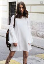 Zara Cute Cream Sun Dress Smock Fluted Sleeve Hippie Boho Flowy Vtg S 8 10