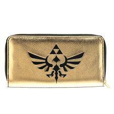 Official Nintendo Zelda Logo Gold Zip Clutch Wallet Purse - Black Logo Ladies