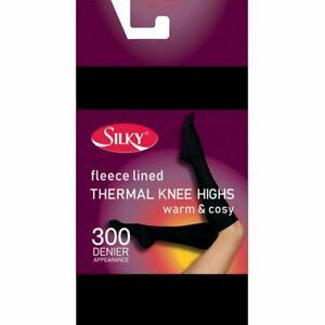 Thermal Fleece Lined 300 Denier Black Knee Highs Pop Socks One Size