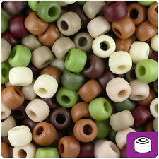 500 Camouflage Mix Matte 9x6mm Barrel Pony Beads Made in the USA