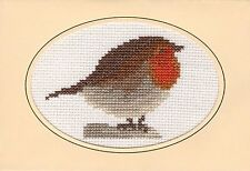 "Perching Red Robin in Snow - Cross Stitch A6 Card Kit 6"" x 4"" - 14 Count Anchor"