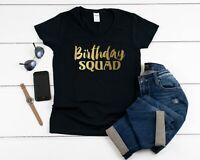 Women's V-neck Birthday Squad Shirt Girl Queen T-Shirt Bday Party Gift Shirts