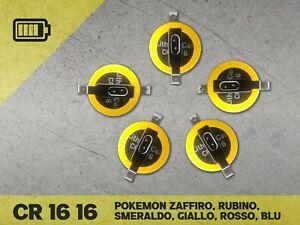 5 Batterie Pile Cr 1616 Pokémon Giallo Blu Rosso Smeraldo Rubino Zaffiro cr1616