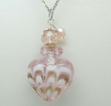 HEART CREMATION JEWELRY PINK GLASS CREMATION URN NECKLACE PENDANT MEMORIAL URNS