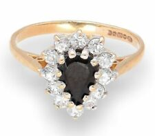 9Carat Yellow Gold Sapphire & Simulated Diamond Cluster Ring (Size O 1/2)