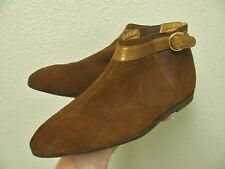 Vintage Mod Brown Suede Ankle Boots Pointy 7M
