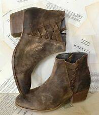 H Hudson Ankle Boots brown Distressed Leather Suede 40/ 9 NEW