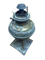 "Antique 1889 B&H Bradley Hubbard Table Oil Kerosine Lamp Cast Brass Ornate 12"" T"