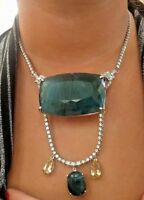 New Chistick Huge 449.7ct Grandidierite beryl diamond Platinum 18k gold necklace