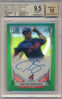 BGS 9.5/10 JUSTUS SHEFFIELD AUTO 2014 Bowman Chrome GREEN REFRACTOR /99 GEM MINT