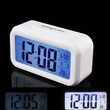 Snooze LED Digital Alarm Clock Thermometer Date Time Night Smart Light LCD W AD