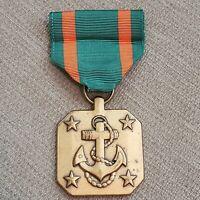 US Navy Anchor Marine Award Achievement Medal Green & Orange Ribbon Military Pin