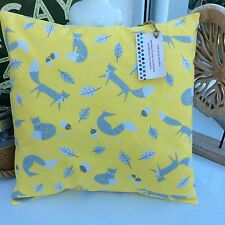 CUSHION COVER COTTON FABRIC SCANDI OCHRE YELLOW MUSTARD MR FOX WOODLAND RETRO  4