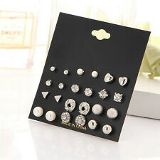 12Pairs Women Girl Fashion Pearl Crystal Heart Stud Triangle Earring Set Jewelry