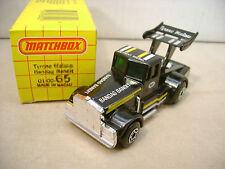 1982 MATCHBOX SUPERFAST #65 BLACK TYRONE MALONE BANDAG BANDIT DRAG TRUCK MIB