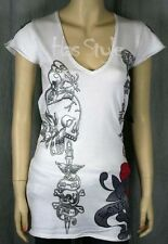 ED HARDY White BUTTERFLY Love Kills V-Neck sweater M