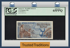 TT PK 77 1960 INDONESIA 2 1/2 RUPIAH PCGS 65 PPQ GEM NEW POPULATION OF TWO!