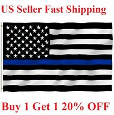Thin BLUE Line Flag 3x5 Ft - Fire Fighter Firefighter -Police American Law