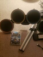 Rock Band 2 (Nintendo Wii) Bundle/ lot drum set, Fender Guitar, wireless dongles