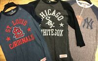 Mitchell Ness Baseball Henley 3/4 Sleeve Jersey Many Teams/Colors/Styles & Sizes