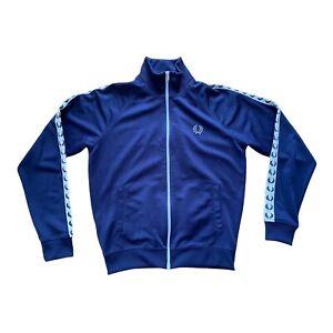 "FRED PERRY Sportswear Sports Track Jacket Blue White Full Zip M Medium 22"" Logo"