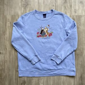 Vintage Sweatshirt Size XL (fits S XS) Embroidered Cat Floral Long Sleeve Blue
