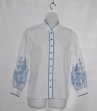 Bob Mackie Embroidered Sleeve Shirt Size L White