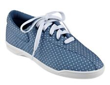 Easy Spirit AP1 athletic shoes sneakers canvas blue polka dot sz 10.5 WIDE New